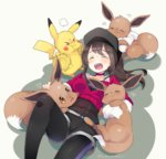 1girl :d >_< ^_^ ^o^ artist_name baseball_cap belt black_hair black_hat black_legwear black_shorts blush breasts brown_eyes choker closed_eyes collarbone covered_navel eevee female_protagonist_(pokemon_go) hat heart jealous kanro_ame_(ameko) leggings long_hair long_sleeves lying medium_breasts motion_blur on_back open_mouth petting pikachu pokemon pokemon_(creature) pokemon_go ponytail pout red_shirt shirt shorts smile