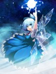 1girl arm_up blue_eyes blue_hair bow cirno dress hair_ribbon highres looking_at_viewer maszom open_mouth pointing ribbon short_hair solo touhou wings