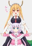 2girls :d :o absurdres bangs blonde_hair blue_eyes blunt_bangs blush breasts dragon_girl dragon_horns dragon_tail eyebrows_visible_through_hair fang gloves gradient_hair grey_background heart highres holding_hands horns kanna_kamui kobayashi-san_chi_no_maidragon large_breasts lavender_hair long_hair looking_at_viewer low_twintails maid_headdress multicolored_hair multiple_girls open_mouth outstretched_arms pink_hair puffy_short_sleeves puffy_sleeves red_eyes red_neckwear short_sleeves simple_background slit_pupils smile tail tming tooru_(maidragon) twintails white_gloves