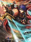 2boys armor belt blue_eyes blue_hair cape commentary_request company_connection copyright_name fingerless_gloves fire_emblem fire_emblem:_akatsuki_no_megami fire_emblem:_souen_no_kiseki fire_emblem_cipher gloves glowing glowing_weapon headband helmet holding holding_sword holding_weapon ike kuroba.k looking_at_viewer male_focus multiple_boys muscle official_art open_mouth pants polearm red_cape short_hair shoulder_armor sleeveless spear sword weapon