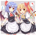 2girls alternate_costume apron artist_name ascot bangs bat_wings black_dress blonde_hair blue_hair blush border bow breasts commentary_request cowboy_shot crystal dress enmaided eyebrows_visible_through_hair fang flandre_scarlet frilled_apron frilled_bow frills grey_background hair_between_eyes hair_bow hair_ribbon head_tilt heart highres leaning_forward long_hair looking_at_viewer maid maid_apron multiple_girls musical_note neck_ribbon no_hat no_headwear one_side_up open_mouth outside_border puffy_short_sleeves puffy_sleeves ramudia_(lamyun) red_bow red_eyes red_neckwear red_ribbon remilia_scarlet ribbon shirt short_hair short_sleeves siblings simple_background sisters skirt_hold small_breasts smile spoken_heart spoken_musical_note standing thighhighs touhou twitter_username waist_apron white_apron white_border white_legwear white_shirt wings wrist_cuffs yellow_neckwear yellow_ribbon zettai_ryouiki