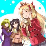 1other 2girls ^_^ bangs baozi black_hair black_scarf black_skirt blonde_hair blush brown_coat brown_scarf closed_eyes closed_mouth coat commentary_request duffel_coat eating enkidu_(fate/strange_fake) ereshkigal_(fate/grand_order) eyebrows_visible_through_hair fate/grand_order fate_(series) food foodgasm glaring green_hair grimjin hair_ribbon hand_in_pocket hand_on_own_cheek holding holding_food ishtar_(fate/grand_order) long_hair long_sleeves looking_at_another multiple_girls plaid plaid_scarf plaid_skirt pleated_skirt purple_coat red_coat red_eyes red_ribbon ribbon scarf skirt tiara two-tone_background two_side_up winter_clothes