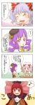 /\/\/\ 3girls 4koma alternate_hairstyle chair charlotte_(madoka_magica) charlotte_(madoka_magica)_(cosplay) check_translation comic cosplay cup drill_hair eighth_note face fang hair_ornament hairband hands_on_own_cheeks hands_on_own_face highres kana_tako kaname_madoka kaname_madoka_(cosplay) koa_(phrase) koakuma mahou_shoujo_madoka_magica multiple_girls musical_note no_hat no_headwear patchouli_knowledge purple_eyes purple_hair remilia_scarlet ribbon smile speech_bubble spoken_musical_note teacup teapot tomoe_mami tomoe_mami_(cosplay) touhou translated translation_request wings