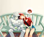 0_0 1boy 1girl ae-3803 ahoge bench blush cabbie_hat closed_eyes couple cup embarrassed flat_cap gloves hair_over_one_eye hat hataraku_saibou head_on_another's_shoulder jacket long_sleeves o_o pants red_blood_cell_(hataraku_saibou) red_hair short_hair shorts sitting sleeping thought_bubble u-1146 uniform wavy_mouth white_blood_cell_(hataraku_saibou) white_hair white_skin