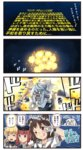 4girls 4koma ^_^ ^o^ black_headwear blonde_hair brown_eyes brown_hair closed_eyes clothes_writing comic commentary depth_charge double_bun eighth_note explosion gloves hair_between_eyes hat highres holding holding_microphone ido_(teketeke) kantai_collection long_hair low_twintails microphone multiple_girls musical_note naka_(kantai_collection) o_o one_eye_closed open_mouth parody puffy_short_sleeves puffy_sleeves remodel_(kantai_collection) sailor_collar sailor_hat satsuki_(kantai_collection) shinkaisei-kan short_hair short_sleeves smile speech_bubble star_wars submarine_new_hime tongue tongue_out translated twintails white_gloves white_hair white_sailor_collar z3_max_schultz_(kantai_collection)