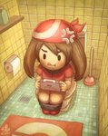 1girl absurdres anger_vein bandana bathroom black_eyes brown_hair carpet commentary drain_(object) english_commentary full_body game_boy_advance handheld_game_console haruka_(pokemon) highres holding holding_handheld_game_console indoors long_hair playing_games plunger pokemon pokemon_(game) pokemon_rse red_bandana red_shirt ry-spirit serious shirt shoes short_sleeves sidelocks signature sitting sitting_on_object solo toilet toilet_paper toilet_use tongue tongue_out wall