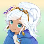 1girl alternate_eye_color alternate_hair_color alternate_skin_color blue_eyes braid character_name chobi_(chan_key) dark_skin earrings freljord_taliyah gem gradient gradient_background hair_ornament high_ponytail jewelry league_of_legends looking_at_viewer smile solo taliyah thick_eyebrows white_hair
