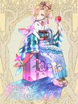 1girl ashgray blonde_hair blue_eyes bow candy_apple commentary_request commission dairoku_youhei fireworks floral_print food full_body hair_over_one_eye hair_ribbon japanese_clothes kimono looking_at_viewer luggage obi pink_bow pinwheel red_nails red_ribbon ribbon sash sile sitting striped wide_sleeves