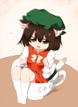 1girl animal_ears brown_eyes brown_hair cat_ears cat_tail chen cup earrings hat in_container in_cup jewelry minigirl nanana_(chicken_union) paw_pose short_hair solo tail touhou