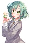 1girl >:) bang_dream! bangs blazer blush bow brown_neckwear commentary_request double_scoop eating food food_on_face from_side green_eyes green_hair grey_jacket hair_bow haneoka_school_uniform hikawa_hina ice_cream ice_cream_cone jacket long_sleeves looking_at_viewer necktie school_uniform short_hair side_braids simple_background sleeves_past_wrists solo spoon striped striped_neckwear tomo_wakui upper_body white_background