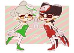 +_+ 2018 2girls ;d alternate_color ankle_boots aori_(splatoon) bare_shoulders boots breasts coula_cat cousins detached_sleeves domino_mask dress earrings food food_on_head full_body gloves green_dress green_footwear green_hair hair_rings hotaru_(splatoon) jewelry leg_up long_hair looking_at_viewer mask mole mole_under_eye multicolored_hair multiple_girls object_on_head one_eye_closed open_mouth pantyhose pointy_ears red_footwear red_hair red_jumpsuit short_dress short_hair short_jumpsuit silver_hair small_breasts smile splatoon_(series) splatoon_1 strapless strapless_dress symbol-shaped_pupils tentacle_hair two-tone_hair very_long_hair white_gloves white_legwear yellow_eyes