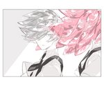 2others androgynous back-to-back colored_eyelashes eyebrows_visible_through_hair eyes_visible_through_hair gem_uniform_(houseki_no_kuni) goshenite_(houseki_no_kuni) grey_eyes grey_hair houseki_no_kuni long_hair looking_at_viewer morganite_(houseki_no_kuni) necktie out_of_frame pink_hair ponytail short_hair silver_eyes silver_hair smile sparkle suspenders upper_body