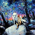 1girl aja_trier artist_name brown_footwear fine_art_parody knee_up knife mononoke_hime no_mouth oil_painting_(medium) on_rock outdoors parody san shaded_face sitting sky style_parody tooth_necklace vincent_van_gogh_(style) white_wolf wolf