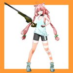 1girl ahoge animal_ears bike_shorts blue_eyes boots cat_ears clenched_teeth commentary explosive full_body grenade grenade_pin gun hair_bobbles hair_ornament hinata_channel long_hair low_twintails mismatched_legwear mouth_hold nekomiya_hinata orange_legwear pink_hair rifle shorts solo striped striped_legwear teeth thighhighs twintails vest virtual_youtuber weapon weapon_request white_vest
