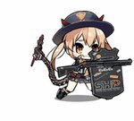 1girl 666 :3 :d animated animated_gif ankle_boots badge belt black_footwear black_gloves black_jacket blonde_hair blue_skirt blush_stickers bomber_jacket boots breasts buttons closed_eyes collared_shirt cuffs demon_horns fangs fingerless_gloves full_body fur-trimmed_jacket fur_trim girls_frontline gloves gun hair_between_eyes handcuffs high_collar holding holding_gun holding_shield holding_weapon horns jacket kneehighs kneeling large_breasts laughing leaning_forward logo long_hair looking_at_viewer lowres m870_(girls_frontline) mechanical_tail miniskirt official_art open_clothes open_jacket open_mouth orange_eyes orange_shirt pleated_skirt remington_870 riot_shield saru sheriff sheriff_badge shield shirt shotgun shotgun_shells skirt skull_print sleeveless sleeveless_shirt smile solo standing sticker tail thighs twintails weapon