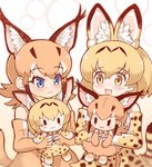 2girls :3 :< animal_ear_fluff animal_ears bare_shoulders black_hair blonde_hair blue_eyes blush bow bowtie caracal_(kemono_friends) caracal_ears caracal_tail center_frills character_doll check_commentary commentary_request elbow_gloves extra_ears eyebrows_visible_through_hair frown gloves high-waist_skirt kemono_friends light_brown_hair long_hair multicolored_hair multiple_girls open_mouth print_gloves print_neckwear print_skirt serval_(kemono_friends) serval_ears serval_print serval_tail short_hair sidelocks skirt sleeveless stuffed_toy tail tanaka_kusao yellow_eyes