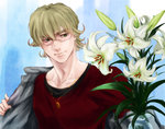 1boy barnaby_brooks_jr blonde_hair dog_tags flower glasses jacket kuroguro lily_(flower) male_focus solo tiger_&_bunny upper_body vase