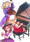 3girls ascot blonde_hair blush bow brown_eyes brown_hair castanets commentary_request crystal double_bass dress eyebrows_visible_through_hair fedora flandre_scarlet frilled_shirt frilled_skirt frills glasses hat hat_bow hat_ribbon highres instrument maribel_hearn medium_hair mob_cap multiple_girls music one_eye_closed piano piano_bench playing_instrument playing_piano puffy_short_sleeves puffy_sleeves purple_dress red_bow red_eyes red_ribbon red_skirt red_vest ribbon shirt short_hair short_sleeves side_ponytail sitting skirt smile terrajin touhou usami_sumireko vest white_bow wings wrist_cuffs