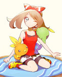 1girl blue_eyes brown_hair full_body gulpin hair_ribbon haruka_(pokemon) haruka_(pokemon)_(remake) kurochiroko one_eye_closed pokemon pokemon_(game) pokemon_oras ribbon sableye shoes sitting sneakers tank_top torchic two_side_up wariza
