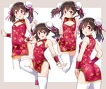 1girl ass black_hair bun_cover china_dress chinese_clothes cleavage_cutout commentary_request cowboy_shot cropped_legs double_bun dress flat_chest floral_print hair_bun kurokawa_makoto looking_at_viewer love_live! love_live!_school_idol_project multiple_views open_mouth pink_footwear red_eyes smile standing standing_on_one_leg thighhighs twintails two-tone_background white_background white_legwear wrist_cuffs yazawa_nico