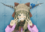 1girl alternate_costume beanie bow breath brown_eyes brown_hair casual contemporary double_v grin hair_bow hat horns ibuki_suika kuro_oolong light_brown_hair long_hair one_eye_closed plaid plaid_scarf scarf smile solo touhou upper_body v winter_clothes