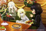 3girls absurdres andou_(girls_und_panzer) bangs bird black_dress black_hair black_legwear blonde_hair blue_eyes bow box brown_eyes cake calendar_(medium) candy candy_cane casual chicken christmas christmas_ornaments christmas_tree christmas_wreath closed_mouth copyright_name couch dark_skin drawstring dress drill_hair eyebrows_visible_through_hair food frown fruit gift gift_box gift_wrapping girls_und_panzer green_eyes green_shirt grey_dress highres holding holding_gift hood hoodie indoors leggings lettuce long_dress long_hair long_sleeves looking_at_another marie_(girls_und_panzer) medium_hair messy_hair multiple_girls official_art open_mouth ornament oshida_(girls_und_panzer) plate pointing shirt sitting smile snowflakes strawberry sweater table tinsel turkey_(food) turkey_leg turtleneck turtleneck_sweater wooden_table wooden_wall