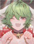animal_ears bell bell_collar choker clenched_hands collar collarbone green_hair one_eye_closed open_mouth original pink_eyes portrait red_eyes short_hair skunkyfly smile upper_body