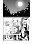 5girls amagase_lyle bangs bird_wings closed_eyes comic drill_hair eyebrows_visible_through_hair fairy_wings forest from_behind full_moon greyscale hair_between_eyes highres leaning_on_person looking_at_another luna_child lunasa_prismriver lyrica_prismriver merlin_prismriver monochrome moon multiple_girls mystia_lorelei nature night open_mouth outdoors short_hair skirt skirt_set smile touhou translated vest wings