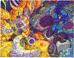 2boys alien battle claws colored commentary don_figueroa duel electricity energy english_commentary glowing glowing_eyes green_eyes ha-heeprime highres horns male_focus mecha multiple_boys no_humans oldschool planet primus red_eyes robot science_fiction space super_robot transformers transformers_armada transformers_cybertron unicron
