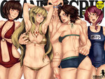 1boy 4girls alisa_boskonovich anna_williams armpits asymmetrical_hair back bangs bikini blue_eyes breast_grab breast_squeeze breasts censored choker cleavage clothed_female_nude_male cover cover_page doujin_cover fat_man flaccid ganryu_(tekken) green_eyes harem kazama_asuka lili_(tekken) long_hair mosaic_censoring multiple_girls one-piece_swimsuit penis pink_hair pointless_censoring puckered_lips scar school_swimsuit self_fondle serizawa_an_ne short_hair short_shorts shorts side-tie_bikini small_breasts sumo sunglasses swimsuit tekken