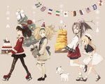 4girls argyle argyle_legwear bell black_skirt blonde_hair blue_eyes blue_sailor_collar brown_eyes brown_hair cake christmas christmas_tree dog dress flag food gambier_bay_(kantai_collection) gloves hachimaki hairband hat headband high_ponytail highres japanese_clothes jervis_(kantai_collection) kantai_collection kokudou_juunigou long_hair mary_janes multiple_girls omelet platform_footwear pleated_skirt ribbon ryuujou_(kantai_collection) sailor_collar sailor_dress sailor_hat santa_costume santa_hat shoes skirt tamagoyaki thighhighs twintails visor_cap white_gloves white_hat zuihou_(kantai_collection)