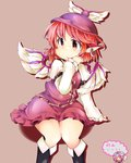 1girl arm_garter boots brown_background buckle dress hat jewelry knee_boots long_sleeves looking_away mystia_lorelei puffy_long_sleeves puffy_sleeves purple_dress red_eyes red_hair saigyouji_yuyuko short_dress short_hair simple_background single_earring sitting solo touhou translation_request wide_hips wings yoko_maboroshi