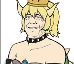 1boy blonde_hair bowsette bowsette_(cosplay) collar commentary cosplay doug_bowser dress finalcake gem lowres male_focus mario_(series) namesake new_super_mario_bros._u_deluxe nintendo ponytail real_life simple_background smile spiked_collar spikes super_crown upper_body white_background