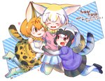 3girls :d ;d ^_^ animal_ear_fluff animal_ears bare_shoulders black_hair black_neckwear black_skirt blonde_hair blush boots bow bowtie brown_eyes chibi closed_eyes commentary common_raccoon_(kemono_friends) elbow_gloves extra_ears fang fennec_(kemono_friends) fox_ears fox_tail girl_sandwich gloves grey_hair hand_on_another's_head highres hug kemono_friends motomiya_kana multicolored_hair multiple_girls one_eye_closed open_mouth print_gloves print_legwear print_neckwear print_skirt puffy_short_sleeves puffy_sleeves raccoon_ears raccoon_tail rakugakiraid sandwiched seiyuu_connection serval_(kemono_friends) serval_ears serval_print serval_tail shirt short_hair short_sleeves simple_background skirt sleeveless sleeveless_shirt smile tail thighhighs translation_request white_background white_hair white_skirt yellow_neckwear