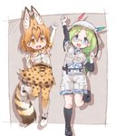 2girls animal_ears bare_shoulders belt boots bucket_hat camouflage_trim commentary elbow_gloves eyebrows_visible_through_hair fanny_pack feathers glasses gloves green_hair hair_tie hat high-waist_skirt highres kemono_friends khakis kneehighs kolshica long_hair mirai_(kemono_friends) multicolored_hair multiple_girls serval_(kemono_friends) serval_ears serval_print serval_tail shoes short_sleeves shorts skirt sleeveless sneakers standing standing_on_one_leg tail thighhighs