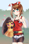 1girl bike_shorts blue_eyes blush brown_hair doyouwantto fanny_pack hair_ribbon haruka_(pokemon) haruka_(pokemon)_(remake) heart holding holding_poke_ball looking_at_viewer mawile nature poke_ball pokemon pokemon_(game) pokemon_oras ribbon short_shorts shorts sleeveless sleeveless_shirt tank_top two_side_up