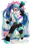1girl absurdres aqua_neckwear bare_shoulders beamed_eighth_notes beamed_sixteenth_notes black_legwear black_skirt blue_eyes blue_hair cable commentary detached_sleeves eighth_note fangs graphic_equalizer grey_shirt hair_ornament hatsune_miku headphones headset highres holding_megaphone long_hair looking_at_viewer megaphone musical_note nail_polish necktie one_knee open_mouth paper quarter_note sheet_music shirt shoulder_tattoo sixteenth_note skirt sleeveless sleeveless_shirt solo staff_(music) tattoo thighhighs treble_clef twintails very_long_hair vocaloid wanaxtuco zettai_ryouiki