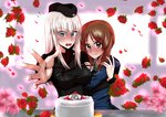 2girls akutagawa_joo arm_grab bangs birthday_cake black_headwear black_jacket black_neckwear blouse blue_eyes blurry blurry_background blush brown_eyes brown_hair cake character_name closed_mouth commentary_request depth_of_field dress_shirt english_text eyebrows_visible_through_hair flower flower_request flying_sweatdrops food foreshortening frown garrison_cap girls_und_panzer happy_birthday hat highres insignia itsumi_erika jacket kuromorimine_military_uniform long_hair long_sleeves looking_at_viewer military military_hat military_uniform multiple_girls neckerchief nishizumi_miho ooarai_military_uniform open_mouth petals reaching_out red_flower red_rose red_shirt rose school_uniform serafuku shirt short_hair silver_hair smile table uniform white_blouse wing_collar yuri