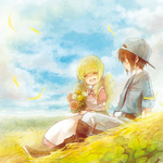 1boy 1girl :d ^_^ arinko_(ta.n.ra.ra) bad_id bad_pixiv_id belt black_hair blonde_hair blush boots brown_eyes closed_eyes flower hat holding holding_flower long_hair looking_at_another open_mouth original sitting smile twintails