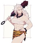 1girl abs animal_print bandaged_arm bandages beads blood bloody_weapon bracelet club dorohedoro dripping earrings hair_slicked_back hand_on_hip holding holding_weapon hoop_earrings horns jewelry kanabou loincloth long_hair looking_to_the_side medium_hair muscle muscular_female mushisotisis navel necklace noi_(dorohedoro) oni prayer_beads red_eyes scratches simple_background solo spiked_club standing thong tiger_print torn_clothes weapon white_background white_hair
