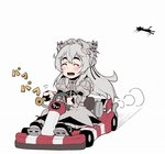 1girl bike_horn butterfly_hair_ornament chaika_trabant chibi driving go_kart hair_ornament hairband hitsugi_no_chaika honk_honk ina_(gokihoihoi) lolita_hairband long_hair silver_hair solo