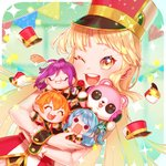 +_+ 1girl :3 :d ;d ^_^ artist_name band_uniform bang_dream! bangs blush character_doll closed_eyes confetti dated doll epaulettes flower green_ribbon hair_ribbon hands_on_own_face hat hat_removed headphones headwear_removed hello_happy_world! highres holding holding_doll holding_flower jewelry kitazawa_hagumi long_hair looking_at_viewer matsubara_kanon michelle_(bang_dream!) minjye one_eye_closed one_side_up open_mouth pendant ponytail red_flower red_rose ribbon rose sash seta_kaoru shako_cap short_hair sidelocks smile solid_circle_eyes solo sparkle string_of_flags tears tsurumaki_kokoro wavy_mouth wrist_cuffs