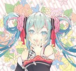 1girl bangs bare_shoulders black_sleeves blue_eyes blue_flower blue_hair blue_nails blue_rose blush chinese_clothes commentary detached_sleeves diagonal-striped_background diagonal_stripes dress eyebrows_visible_through_hair fingernails flower hair_between_eyes hair_flower hair_ornament hair_ribbon hair_rings hand_to_own_mouth hand_up hatsune_miku hatsune_miku_expo hiro_chikyuujin long_hair long_sleeves looking_at_viewer multicolored_hair nail_polish open_mouth pink_flower pink_hair pink_rose red_flower red_ribbon red_rose ribbon rose round_teeth sleeveless sleeveless_dress solo star star-shaped_pupils streaked_hair striped striped_background symbol-shaped_pupils teeth twintails upper_body upper_teeth very_long_hair vocaloid white_dress white_flower wide_sleeves yellow_flower yellow_rose