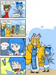 !! (9) +++ 3girls 4koma animal_ears blue_eyes bow cat_ears cat_tail chen cirno comic dress finnish_text fox_tail frog hair_bow hands_in_opposite_sleeves hat ice multiple_girls multiple_tails open_mouth setz smile sweatdrop symbol-shaped_pupils tail touhou translated wings yakumo_ran