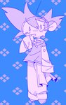 1boy argyle argyle_background arm_at_side blue_background chinese_clothes crying crying_with_eyes_open dragon_ball dragon_ball_z eyebrows_visible_through_hair finger_to_mouth full_body highres long_sleeves male_focus monochrome purple_background short_hair simple_background son_goten spiked_hair suzuka_g tears