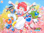 1girl 2boys 90s :o \o/ ^_^ arms_up artist_request bangs black_eyes black_hair blue_eyes child clenched_hands closed_eyes clothes_writing copyright_name gloves goggles goggles_on_head green_hair gwinbee happy heart jumping jumpsuit light_(twinbee) looking_at_viewer mint-herb_(twinbee) multiple_boys official_art oldschool outstretched_arms pastel_(twinbee) puffy_sleeves red_hair robot shoes short_hair short_sleeves smile sneakers spiked_hair stepped_on tank_top twinbee twinbee_(character) twinbee_paradise white_gloves winbee