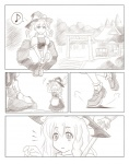 2girls ao_usagi comic eighth_note greyscale hakurei_reimu kirisame_marisa monochrome multiple_girls musical_note silent_comic speech_bubble spoken_musical_note touhou
