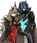 1boy 1girl absurdres blue_hair bone breastplate breasts cape closed_mouth domino_mask ebinku fire_emblem fire_emblem_heroes gauntlets grey_hair hair_between_eyes highres horns lif_(fire_emblem) long_hair mask red_eyes scabbard see-through sheath sheathed short_hair simple_background skeleton smile sword thrasir_(fire_emblem) weapon white_background