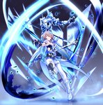 1girl armor armored_dress bangs bare_shoulders belt black_gloves blue_legwear breasts commentary_request detached_collar elbow_gloves full_body gloves grey_hair hair_ornament hair_over_one_eye hand_up highres holding holding_scythe honkai_(series) honkai_impact_3rd large_breasts light_particles looking_at_viewer mole mole_under_eye red_eyes rita_rossweisse rita_rossweisse_(artemis) scythe shinachiku_(uno0101) short_hair sidelocks smile thighhighs weapon