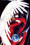1boy absurdres angel_wings arm_across_chest black_clothes black_hair clamp cloak closed_mouth demon_wings earth highres light_particles long_sleeves looking_at_viewer male_focus official_art purple_eyes red_cloak shirou_kamui short_hair solo source_request sword traditional_media uniform weapon wings x_(manga)